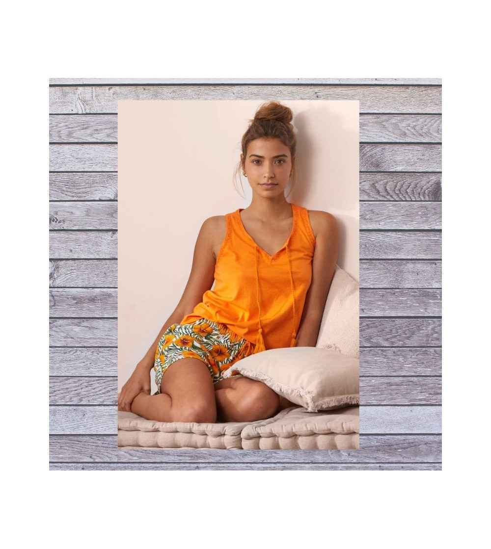 pijama mujer verano pantalon corto naranja