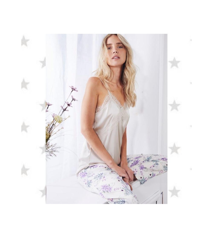 pijama mujer primavera pantalon largo raso